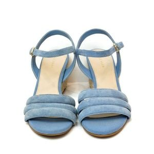 Cole Haan Womens 6.5 B Wedge Sandals Blue Suede